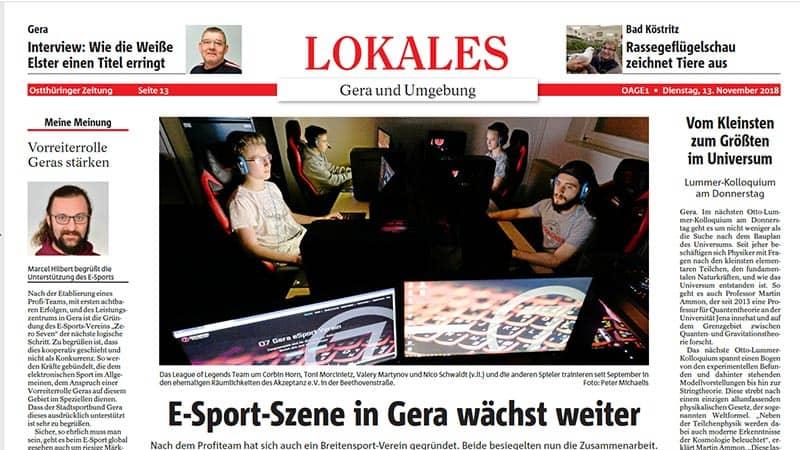13.11.2018 Artikel in der OTZ | eSport in Gera wächst weiter