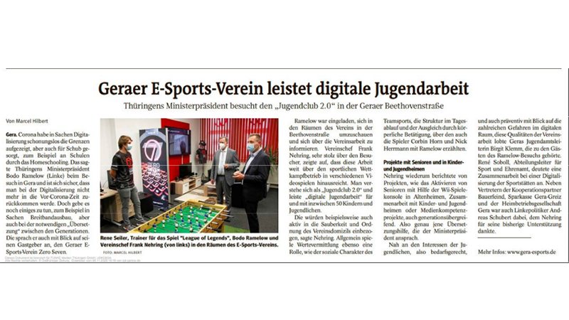 Geraer eSports Verein leistet digitale Jugendarbeit