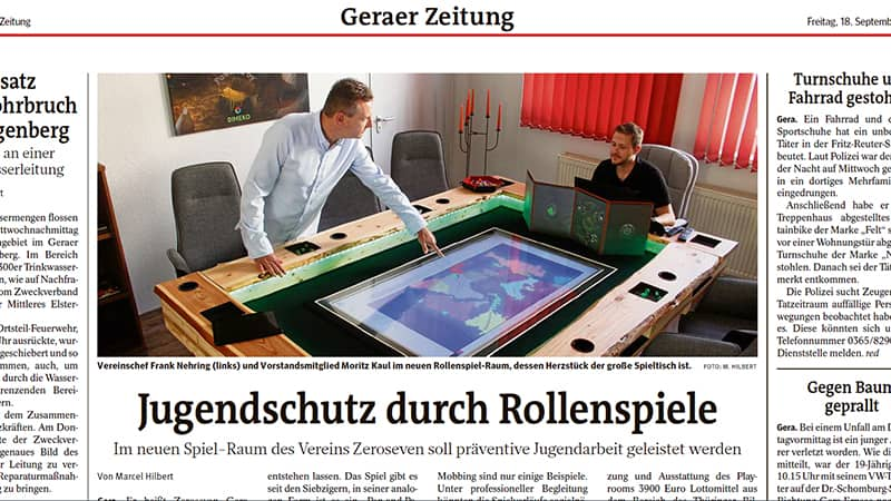 Jugendschutz durch Rollenspiele OTZ Artikel vom 18.09.2020