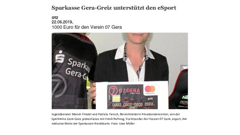 Sparkasse Gera unterstützt eSport Verein